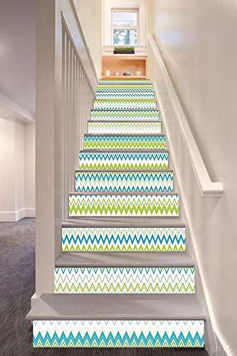 Teal and White 3D Stair Riser Stickers Removable Wall Murals Stickers,Zig Zag Lines in Horizontal Order Chevron Triangles Geometric Decorative,for Home Decor 39.3