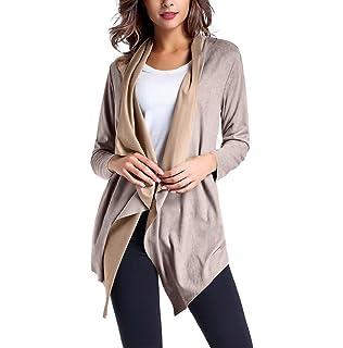 FNKDOR Manteau Femmes Retro Trench Coat Coupe-Vent en Similicuir pour Femmes  Slim Avant Ouvert 9f824629d6e