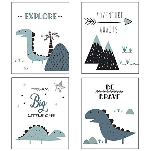 Nursery Decor and Baby Room Decor for Baby Nursery – Dinosaur and Mountain Themed Woodland Nursery Decor – Baby Boy Nursery Wall Decor – 4 Posters – Blue White – Unframed (Blue)