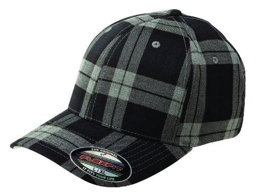 Flexfit Tartan Plaid Black Grey Wooly Combed Stretchable Fitted Cap Basecap ()