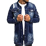 Men Clothes Clearance Charberry Vintage Washed Denim Hole Long Button Coat Casual Distressed Jacket Blouse