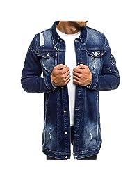 Pervobs Men's Vintage Wash Distressed Denim Long Sleeve Button-Down Coat Jacket