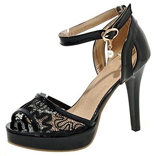 COOLCEPT Women Fashion Ankle Strap Sandals Peep Toe High Heel Shoes 1373Black 2xRgC5K5u
