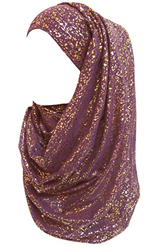Hijab Head Scarf - Lina & Lily Gold Glitter Plain Color Hijab Muslim Head Wrap Scarf Shawl (Purple)