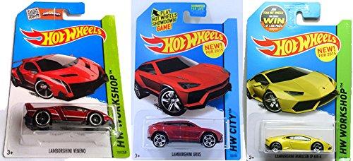 Hot Wheels 2015 Lamborghini 3 Car Set Red Veneno Yellow