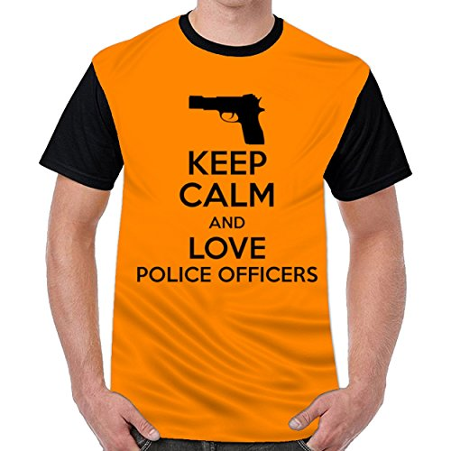 Speciallife Keep Calm and Love Police Officer Mens Printed O-Neck T Shirt Top Blouse Shirt Orange