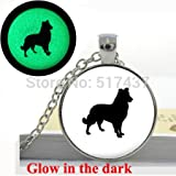 Pretty Lee Glow In The Dark Collie Necklace-Dog Silhouette Necklace Jewelry - Art Photo Glass Dome Dog Necklace Glowing Necklace Pendant