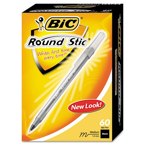 BIC : Round Stic Ballpoint Pen, Translucent Barrel, Black Ink, Med Pt, 1.0 mm, 60/pk -:- Sold as 2 Packs of - 60 - / - Total of 120 Each
