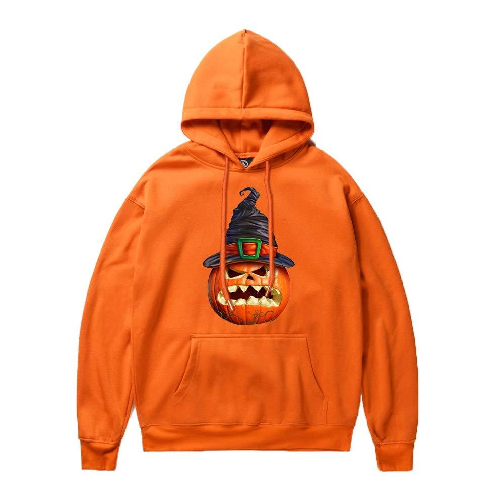 Fanteecy Sweatshirt Unisex Novelty Hoodies 3D Digital Print Sweatshirt Pockets Pullover Skeleton Sweatshirt Orange by Fanteecy
