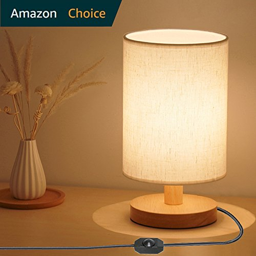 Dimmable Bedside Desk Table Lamp Kit - Wood NightStand Lamp,Warm White Light bulb E26 included for Contemporary Living Room,Foyer,Study,Cafe,Adult,Kids,Baby bedroom,By (Contemporary Foyer)