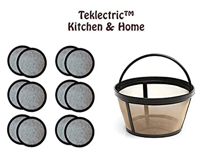 Teklectric 8-12 Cup Permanent Mr. Coffee Basket-Style Coffee Filter & Set of 12 Water Filters for Mr. Coffee Coffee Maker and Brewer