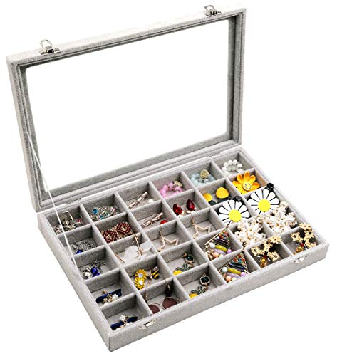 Wuligirl Clear Lid 30 Grid Jewelry Box Case Organizer Showcase Stackable Display Jewelry Removable Ice Velvet Lockable(30 Grid) from Wuligirl
