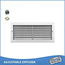 """8""""w x 6""""h ADJUSTABLE DIFFUSER - Vent Duct Cover - Grille Register - Sidewall or Ceiling - High Airflow"""