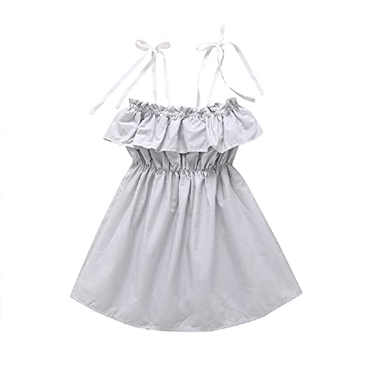 a7c075f5e644 Amazon.com: MOLYHUA Baby Girl Ruffled Tube Top Mini Dress with Shoulder  Strap Sleeveless Dress: Clothing
