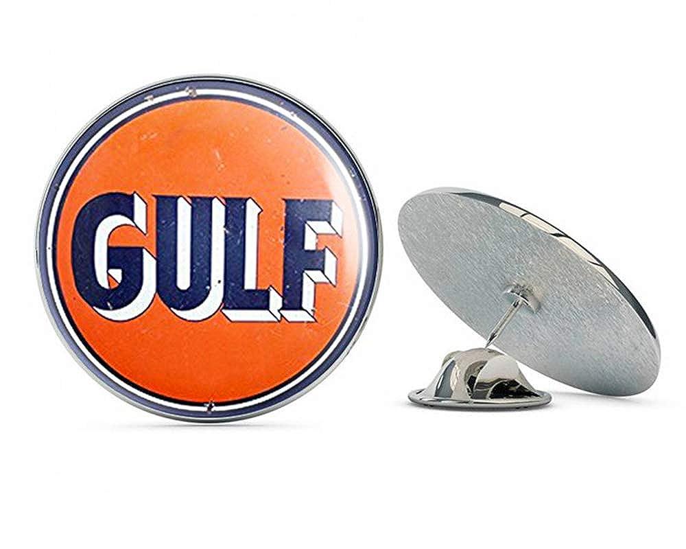 NYC Jewelers Vintage Round Gulf Gas Logo (Motor Oil car Gasoline) Metal 0.75' Lapel Hat Pin Tie Tack Pinback