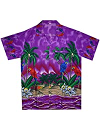 Funky Hawaiian Shirt For Men Short Sleeve Front-Pocket Parrot Palm Purple