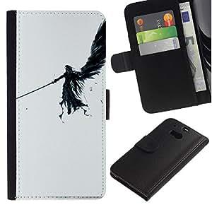 // PHONE CASE GIFT // Moda Estuche Funda de Cuero Billetera Tarjeta de crédito dinero bolsa Cubierta de proteccion Caso HTC One M8 / DARK ANGEL /