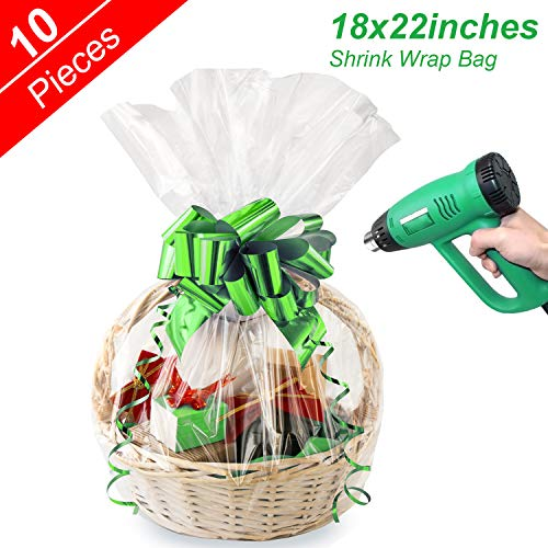 Shrink Wrap Bags Clear Cellophane Bags for Christmas Hamper Basket and Gifts, 18×22 inches (10pack)