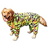 BBEART Dog Raincoat, Fashion Four-legged Hooded Pet Raincoat Rain Jacket Jumpsuit Rain Poncho Coat Slicker Camouflage Long Sleeves Rainproof Clothes for Small Medium Large Dogs Cool (30, Army Green)