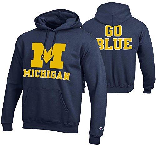 (Elite Fan Shop Michigan Wolverines Hoodie Sweatshirt Back Navy -)