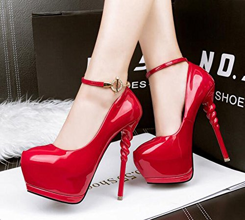 CHFSO Womens Fashion Stiletto Rhinestone Buckle Round Toe Ankle Strap Spike High Heel Platform Pumps Shoes Red 7KtvAsNdu