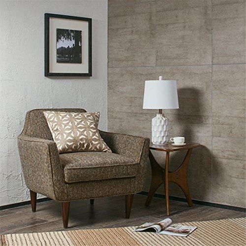 Contour Ivory White Mid Century Modern Table Lamp , Contemporary Ceramic Desk Light , 11.5 X 11.5 X 22