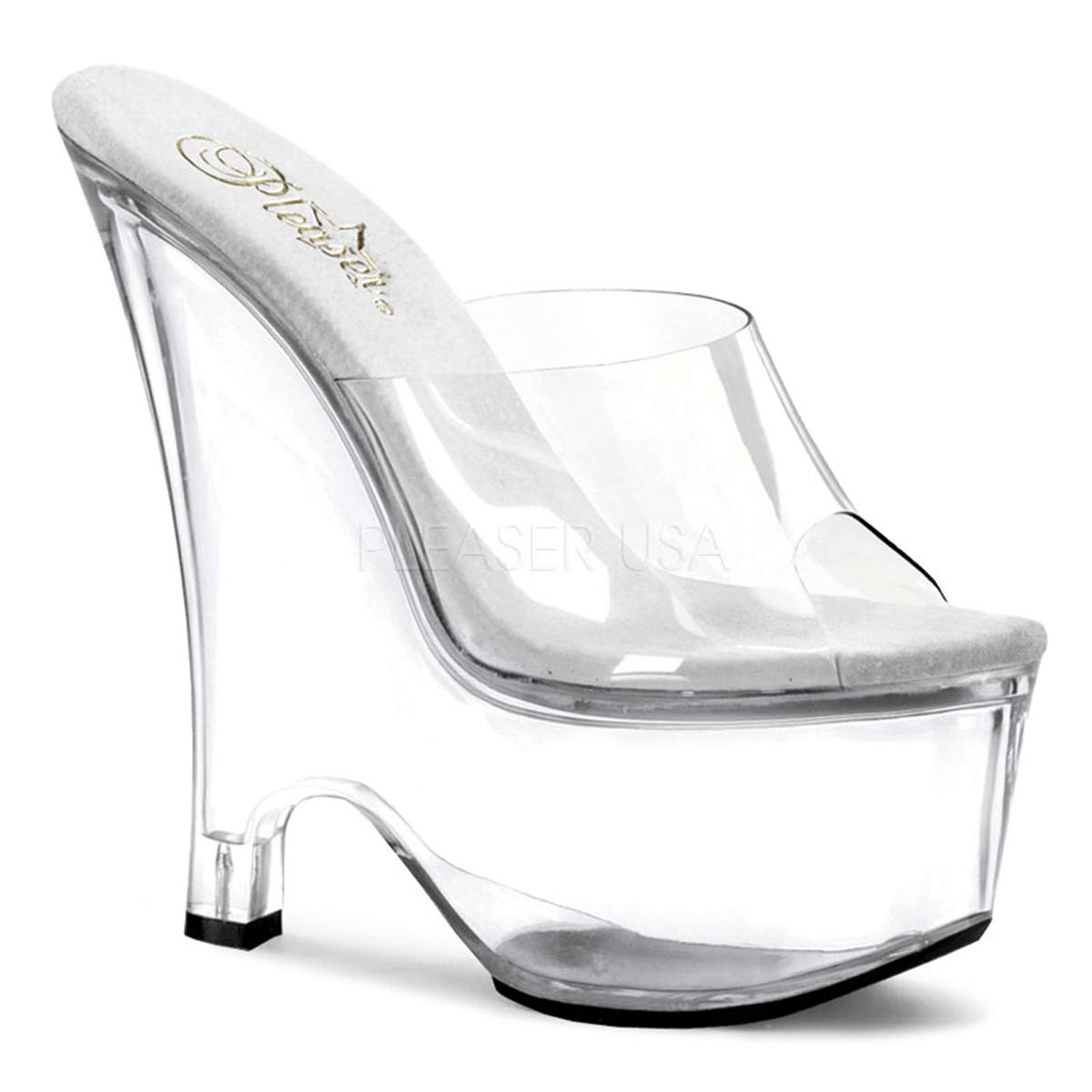 Pleaser Beau-601 Women's Wedge Heel Slip on 6.1/2'' Sexy Sandal. Clear/Clear Size 9
