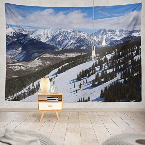 ONELZ Decor Collection, Ski Run with Colorado Mountains Winter Colorado Winter Snow Valley Bedroom Living Room Dorm Wall Hanging Tapestry 60 L X 80 W Polyester Polyester Blend