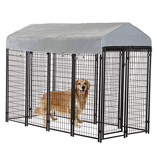 BestPet Heavy Duty Dog Cage -Outdoor Pet Playpen - This Pet Cage is Perfect for Containing Small Dogs and Animals. Included is a Roof and Water-Resistant Cover ()