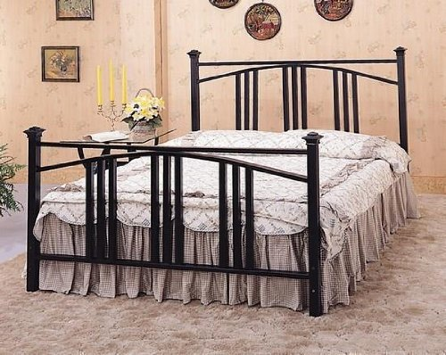 Queen Size Satin Black Convex Mission Style Metal Bed Headboard and Footboard - Black Mission Headboard