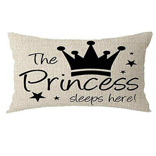GAWEKIQE Quote The Princess Sleeps Here Star Decorative Pattern Gift Holiday Cotton Linen Pillowcase Throw Pillow Cover Cushion Case Pillowcover Holiday Decorative 12