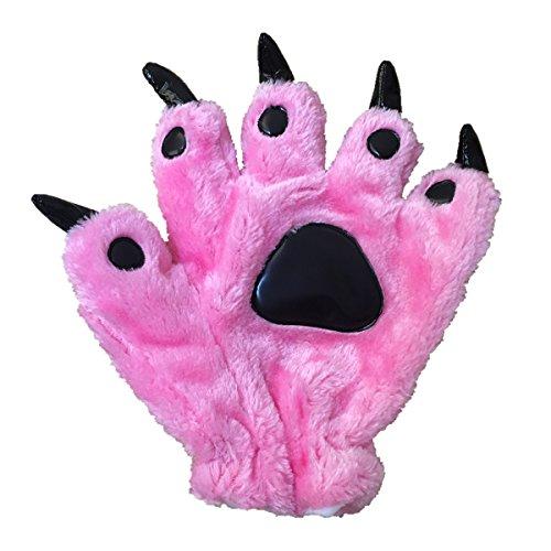 Unisex Bear Plush Paw Claw Gloves Soft Winter Mittens Pink S -