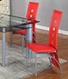 Roundhill Furniture Cinda Metal Contemporary Dining Room Chairs, Red, Set of 2