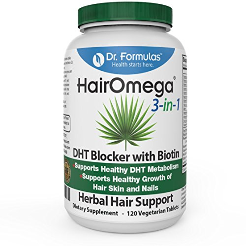 HairOmega 3-in-1 DHT Blocker, Extra Strength Biotin Hair Growth Supplement | Hair Loss Vitamins, 30 Day Supply