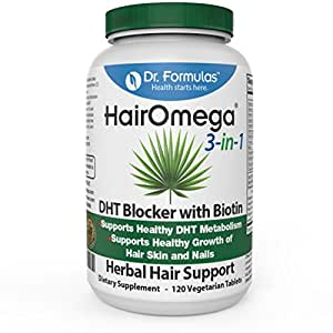 Dr. Formulas Hairomega 3-in-1 DHT Blocker with Biotin Hair, Skin and Nail Growth Support Formula