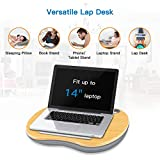 """Lap Desk - Laptop Stand with Cushion & Wood Platform on Bed & Sofa, as Book Stand/Sleeping Pillow/Knee Desk with Cable Hole & Anti-Slip Strip, Fit up to 14"""" Laptop, Tablet, Phone (Small Wood Grain)"""