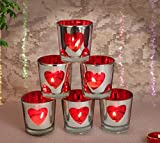 TiedRibbons Valentines for Girlfriend Boyfriend Set of 6 Red Heart Tealight Candle Holder(6 cm x 4.2 cm)