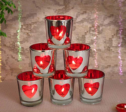 TiedRibbons Set of 6 Red Heart Tealight Candle Holder for Romantic Dinner, Home Decoration