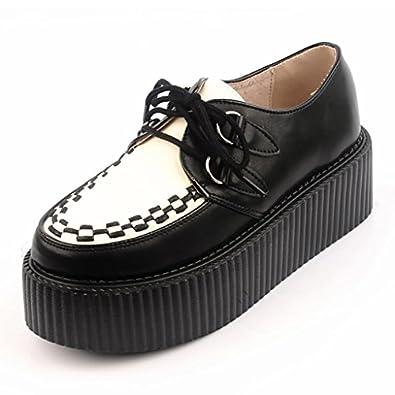 ... sale online e4e8f 0d23c Rose.g Womens Leather Flat Double Platform Goth  Creepers Shoes Black ... e1736d876