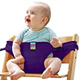 Gracelife Portable Chair Strap Baby Feeding Seat Belt Toddler Safety Harness Travel High Chair Booster, Pack with 1 Pacifier Clip for Free (Purple)