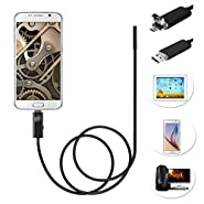 Arich Waterproof WiFi 0.3PM Endoscope, 2M Flexible Cable, 5.5mm Diameter Inspection Camera Head, 2 in 1 Borescope With 6 LED Lights for Android Black