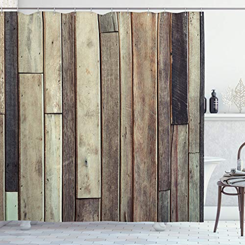"""Ambesonne Wooden Shower Curtain, Antique Planks Flooring Wall Picture American Style Western Rustic Panel Graphic Print, Cloth Fabric Bathroom Decor Set with Hooks, 70"""" Long, Brown"""