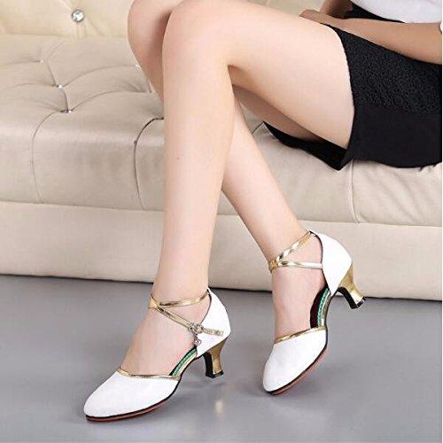 SQIAO-X- Scarpe da ballo gomma Kraft bassa Hasp, adulti e pelle di ballo latino ballo sociale Square Dance Professional scarpe da ballo, Bianco (3.5Cm),37