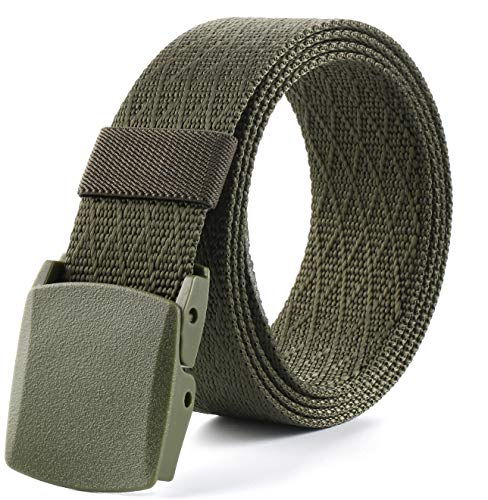 Tactical military, nylon belt, web belt for outdoor travel-plastic/metal buckle for men or women, 51 inches-long, 1.38 inch-wide, Greem ()