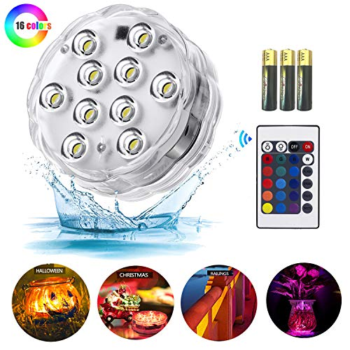 Melon Boy Submersible Led Lights,Underwater Waterproof Bathtub Lights with Remote Control for Hot Tub,Vase Base,Pond,Pool,Aquarium,Party,Fish Tank,Home Decorations Mood Lights 1pc (Best Base For Hot Tub)
