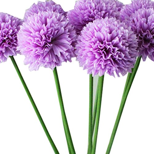 Creazy 5pcs Lavender Ball Artificial Silk Flowers Bouquet Home Wedding Party Decor (Purple)