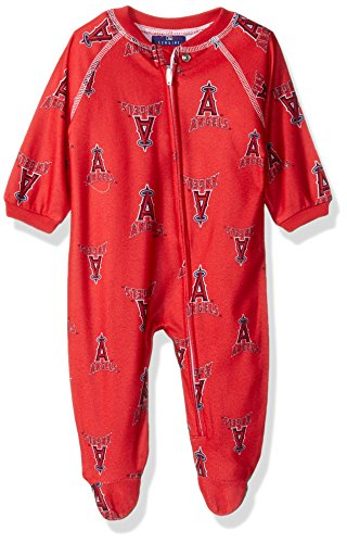 OuterStuff MLB Newborn Angels Sleepwear All Over Print Zip Up Coverall, 0-3 Months, Athletic - Print Bodysuit Baseball