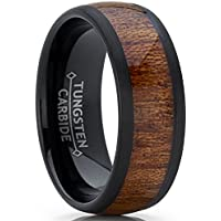 Metal Masters Co. Men's Women's Black Tungsten Carbide Wedding Band Engagement Ring, Real Wood Inlay, Comfort Fit 8mm