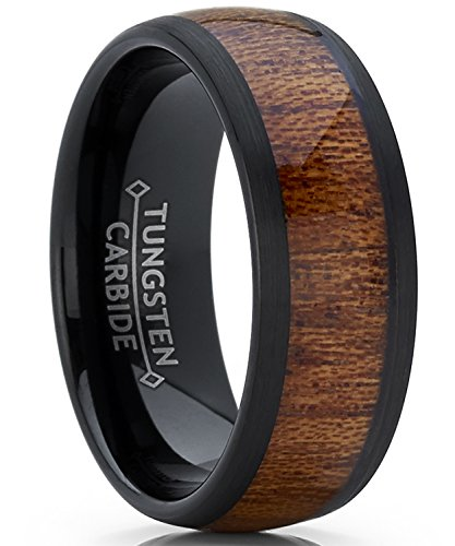 Metal Masters Co. Men's Women's Black Tungsten Carbide Wedding Band Engagement Ring, Real Wood Inlay, Comfort Fit 8mm 11.5