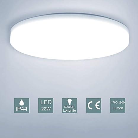 LED Lámpara de Techo,22W Moderna Plafón Led de Techo Redonda Ultra Delgado Φ30 cm IP44 Impermeable 1900LM 5500K Baño Pasillo Cocina LED Plafón para ...